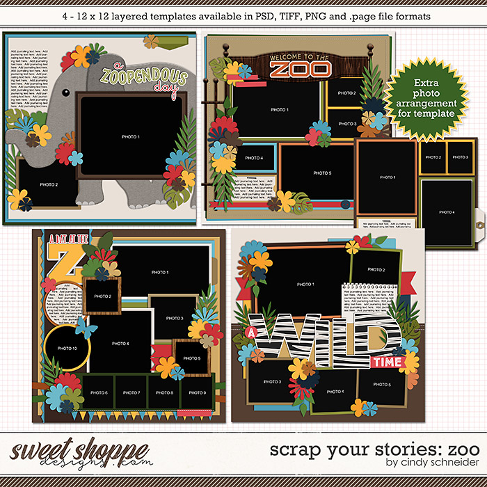 Cindy's Layered Templates - Scrap Your Stories: Zoo by Cindy Schneider