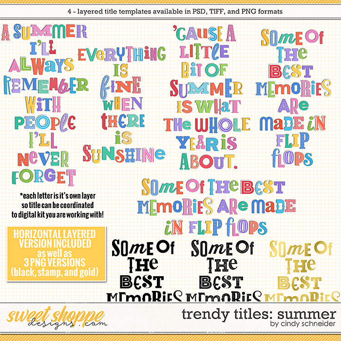 Cindy's Layered Templates - Trendy Titles: Summer by Cindy Schneider