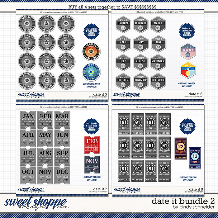 Cindy's Layered Templates - Date It Bundle 2 by Cindy Schneider