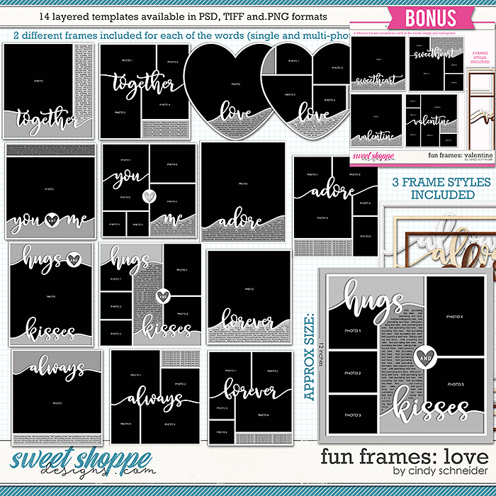 Cindy's Layered Templates - Fun Frames: Love + BONUS VALENTINE FRAMES  by Cindy Schneider