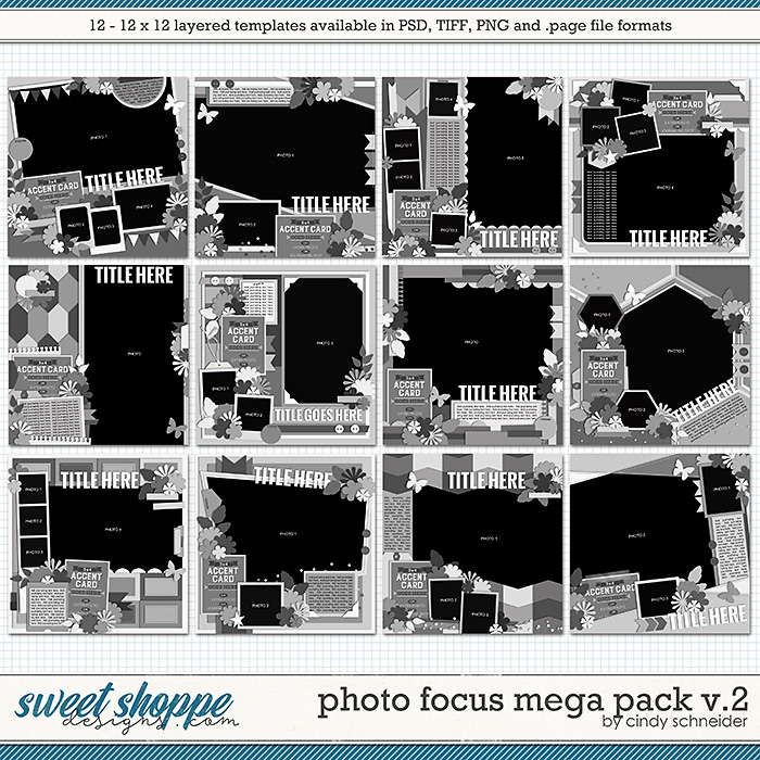 Cindy's Layered Templates - Photo Focus MEGA Pack Volume 2 by Cindy Schneider