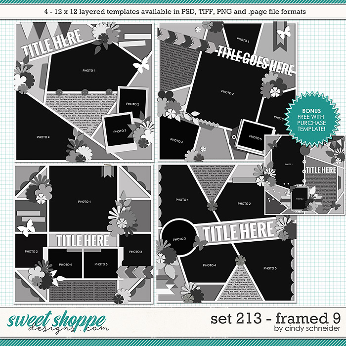 Cindy's Layered Templates - Set 213: Framed 9 by Cindy Schneider