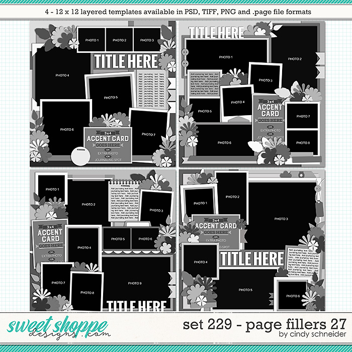 Cindy's Layered Templates - Set 229: Page Fillers 27 by Cindy Schneider