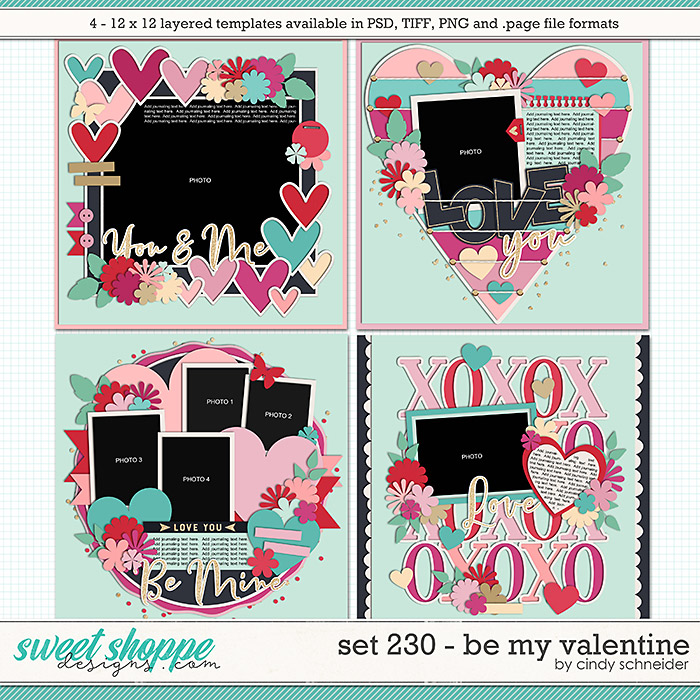 Cindy's Layered Templates - Set 230: Be My Valentine by Cindy Schneider