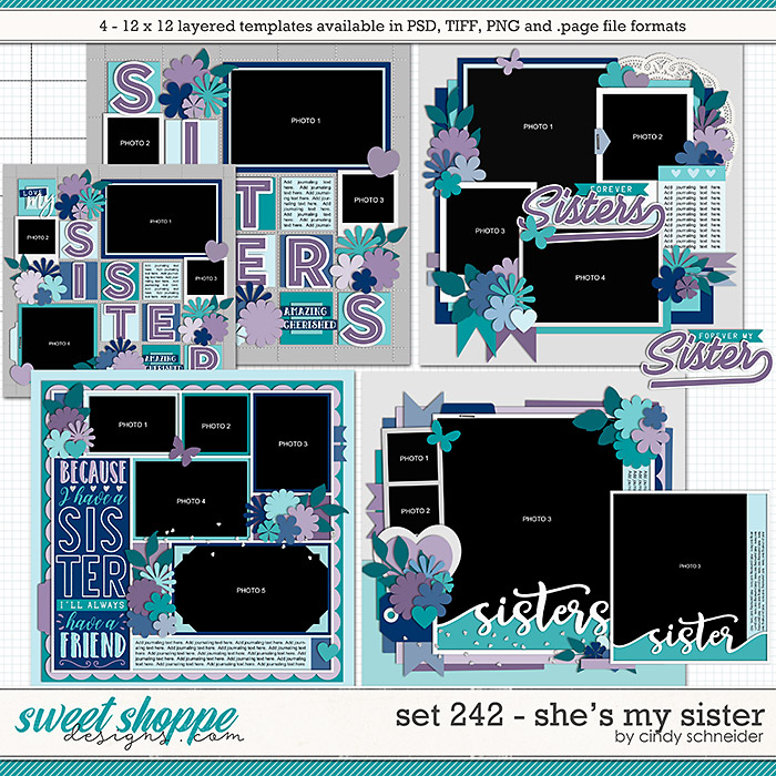 Cindy's Layered Templates - Set 242: She's My Sister by Cindy Schneider