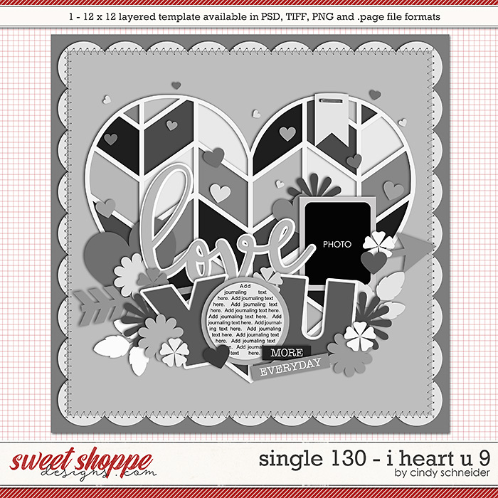 Cindy's Layered Templates - Single 130: I Heart U 9 by Cindy Schneider
