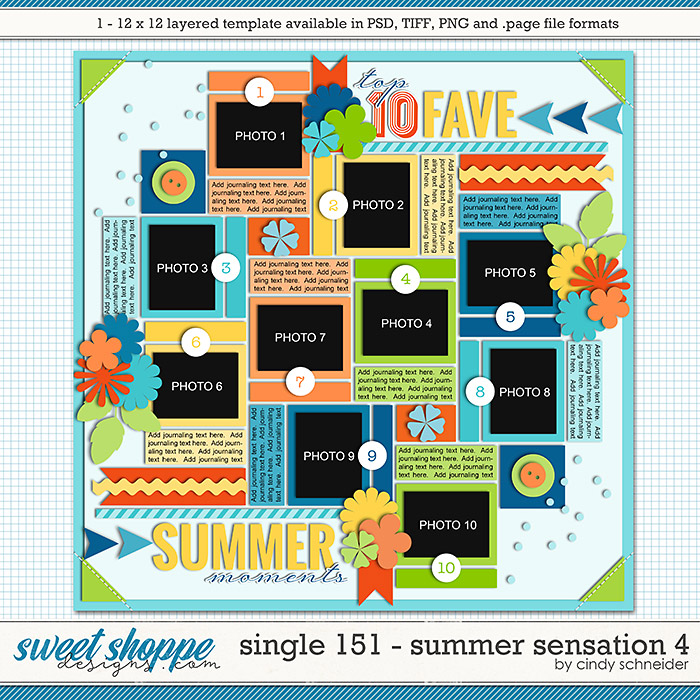 Cindy's Layered Templates - Single 151: Summer Sensations 4 by Cindy Schneider
