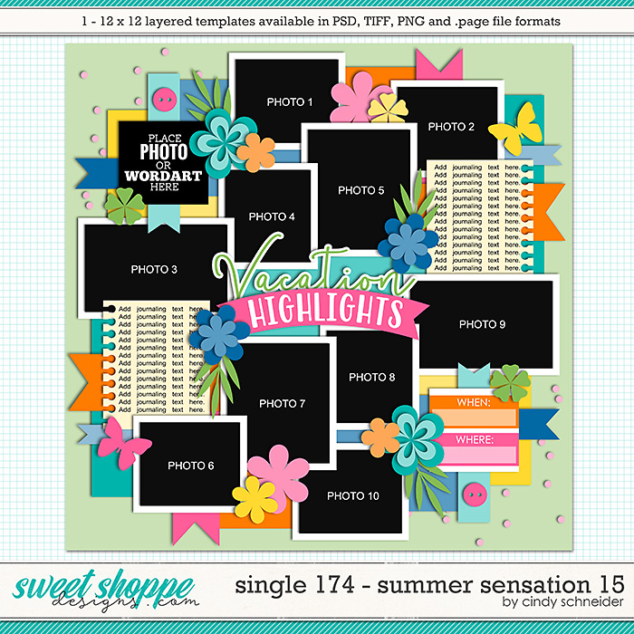 Cindy's Layered Templates - Single 174: Summer Sensation 15 by Cindy Schneider