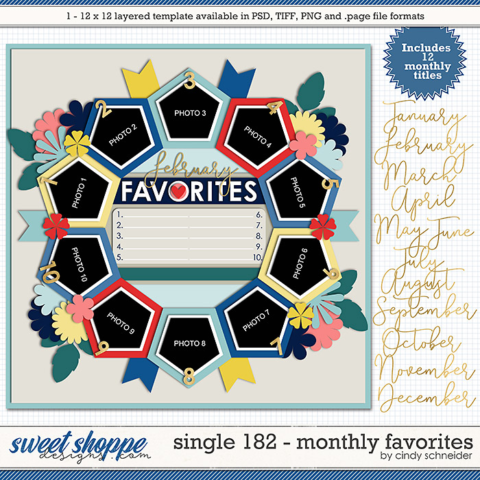 Cindy's Layered Templates - Single 182: Monthly Faves by Cindy Schneider