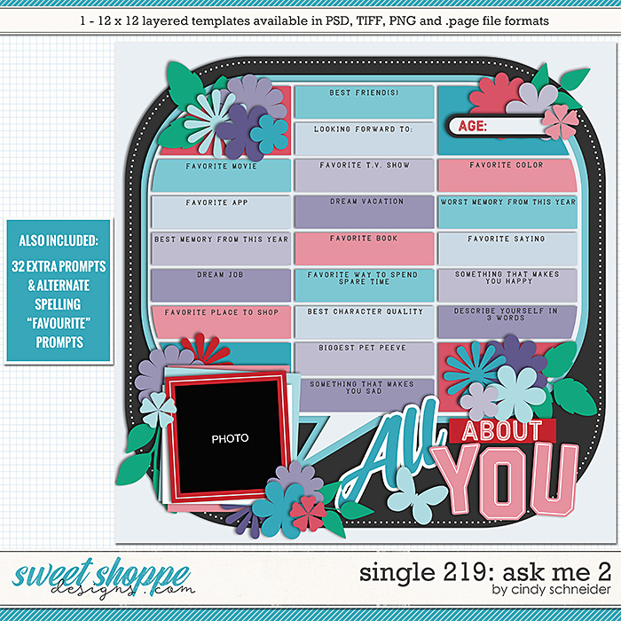 Cindy's Layered Templates - Single 219: Ask Me 2 by Cindy Schneider
