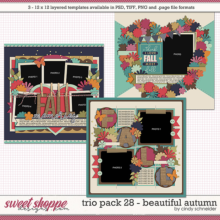 Cindy's Layered Templates - Trio Pack 28: Beautiful Autumn