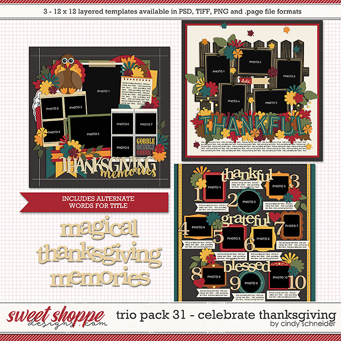 Cindy's Layered Templates - Trio Pack 31: Celebrate Thanksgiving by Cindy Schneider