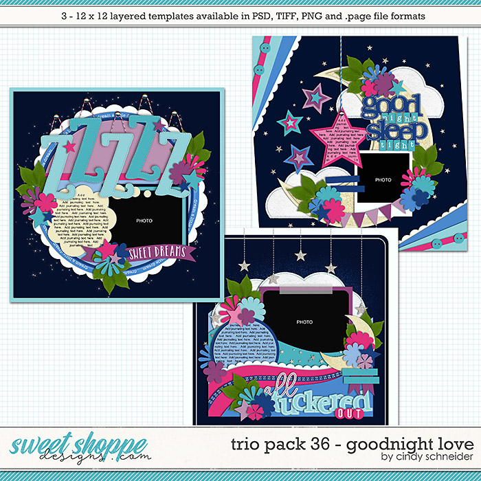 Cindy's Layered Templates - Trio Pack 36: Goodnight Love by Cindy Schneider
