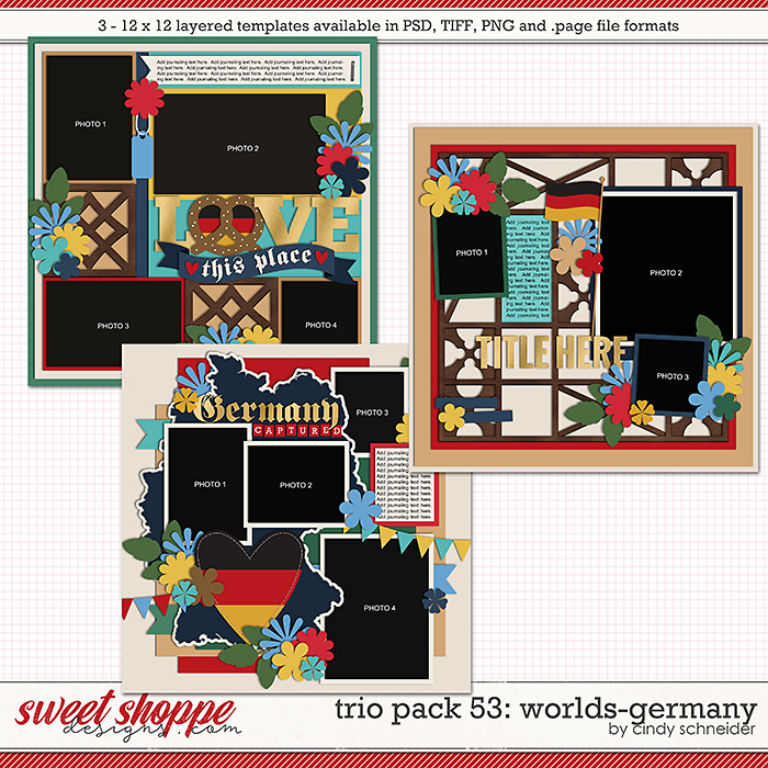 Cindy's Layered Templates - Trio Pack 53: Worlds-Germany by Cindy Schneider