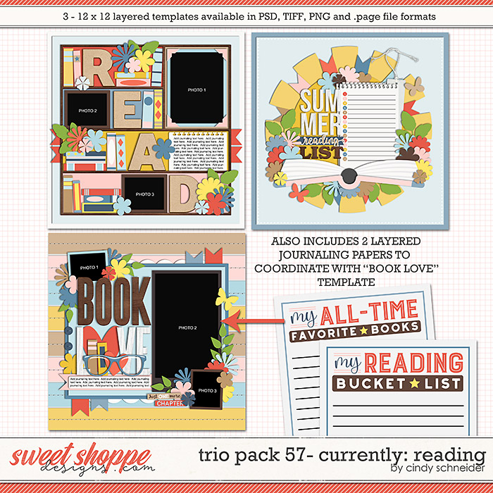 Cindy's Layered Templates - Trio Pack 57: Currently: Reading by Cindy Schneider