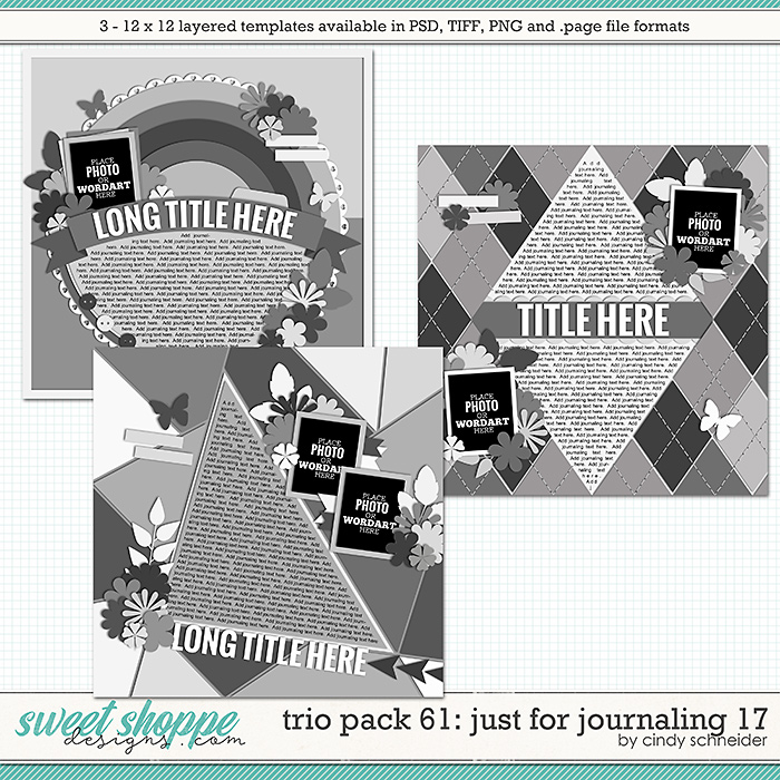 Cindy's Layered Templates - Trio Pack 61: Just for Journaling 17 by Cindy Schneider