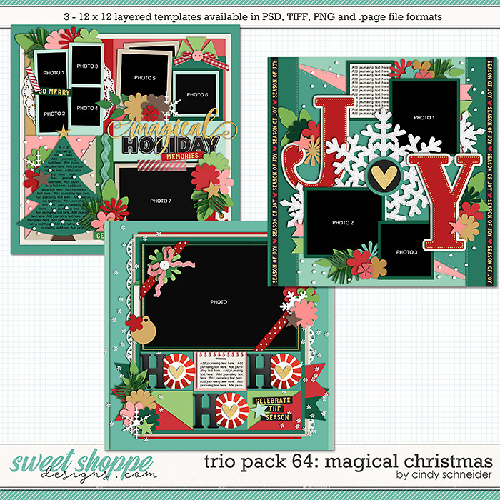 Cindy's Layered Templates - Trio Pack 64: Magical Christmas by Cindy Schneider