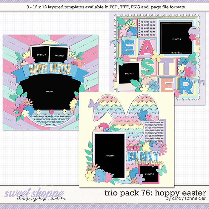 Cindy's Layered Templates - Trio Pack 76: Hoppy Easter by Cindy Schneider