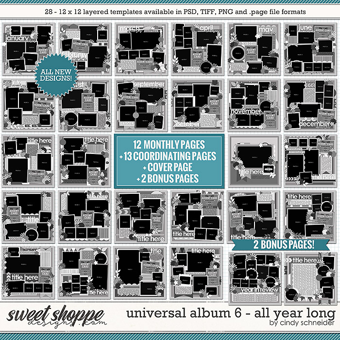 Cindy's Layered Templates - Universal Album 6: All Year Long by Cindy Schneider