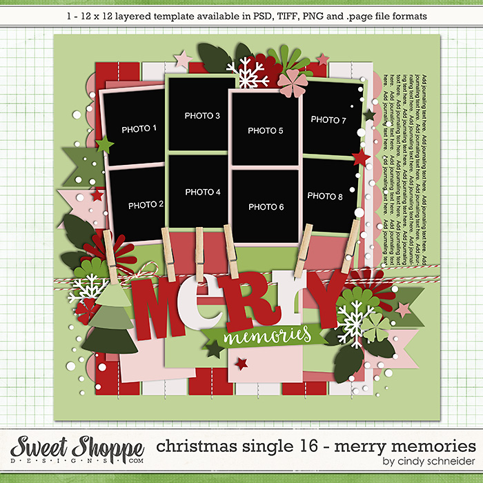Cindy's Templates - Christmas Single 16: Merry Memories by Cindy Schneider