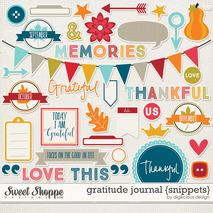 Gratitude Journal {Snippets} by Digilicious Design