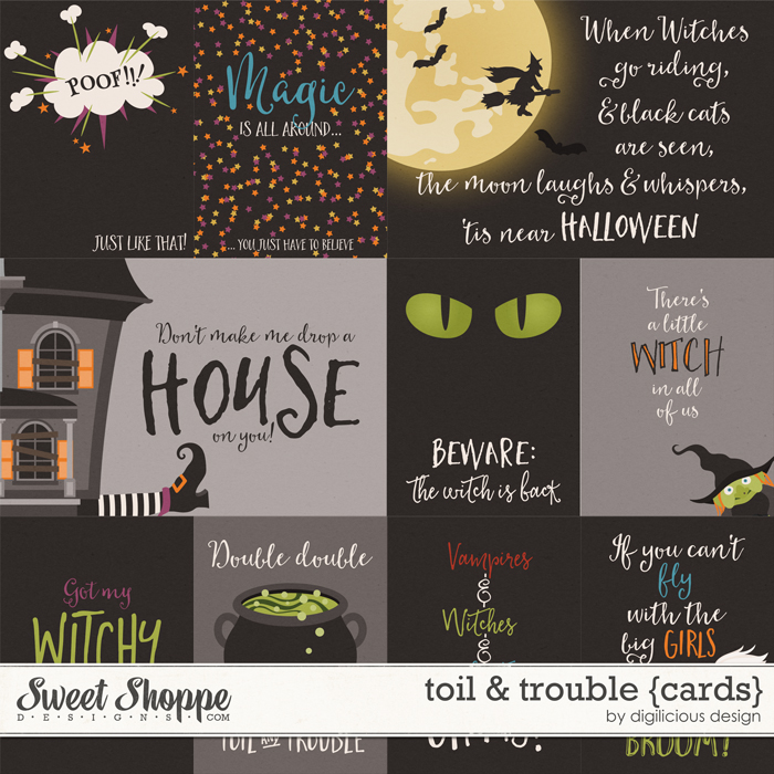 Toil & Trouble {Cards} by Digilicious Design