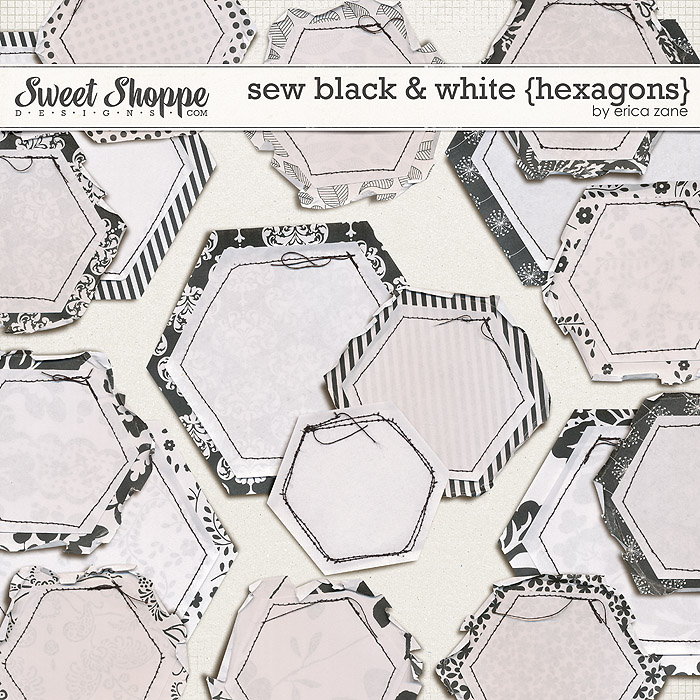 Sew Black & White {Hexagons} by Erica Zane