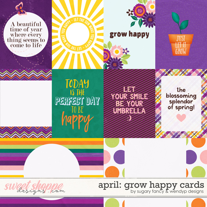 April: Grow happy - cards by Sugary Fancy and WendyP Designs