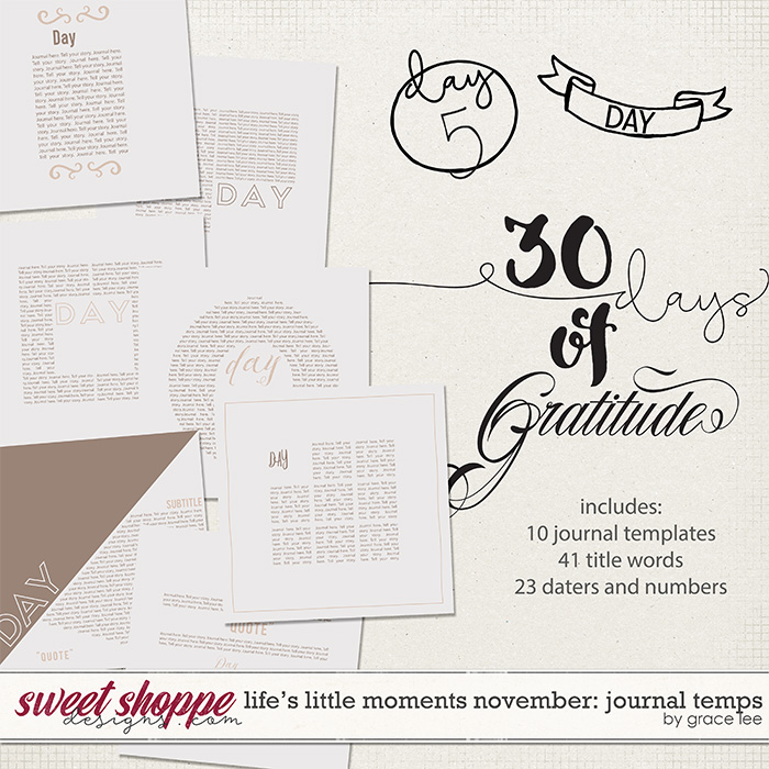 Life's Little Moments November: Journal Templates by Grace Lee