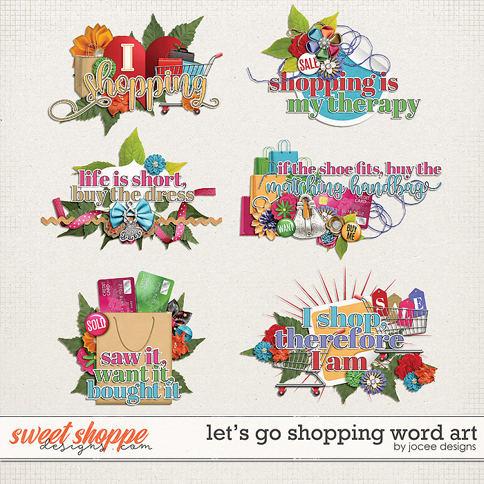 Lets Go Shopping Word Art by JoCee Designs