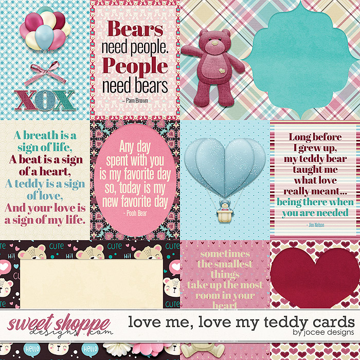 Love Me Love My Teddy Cards by JoCee Designs