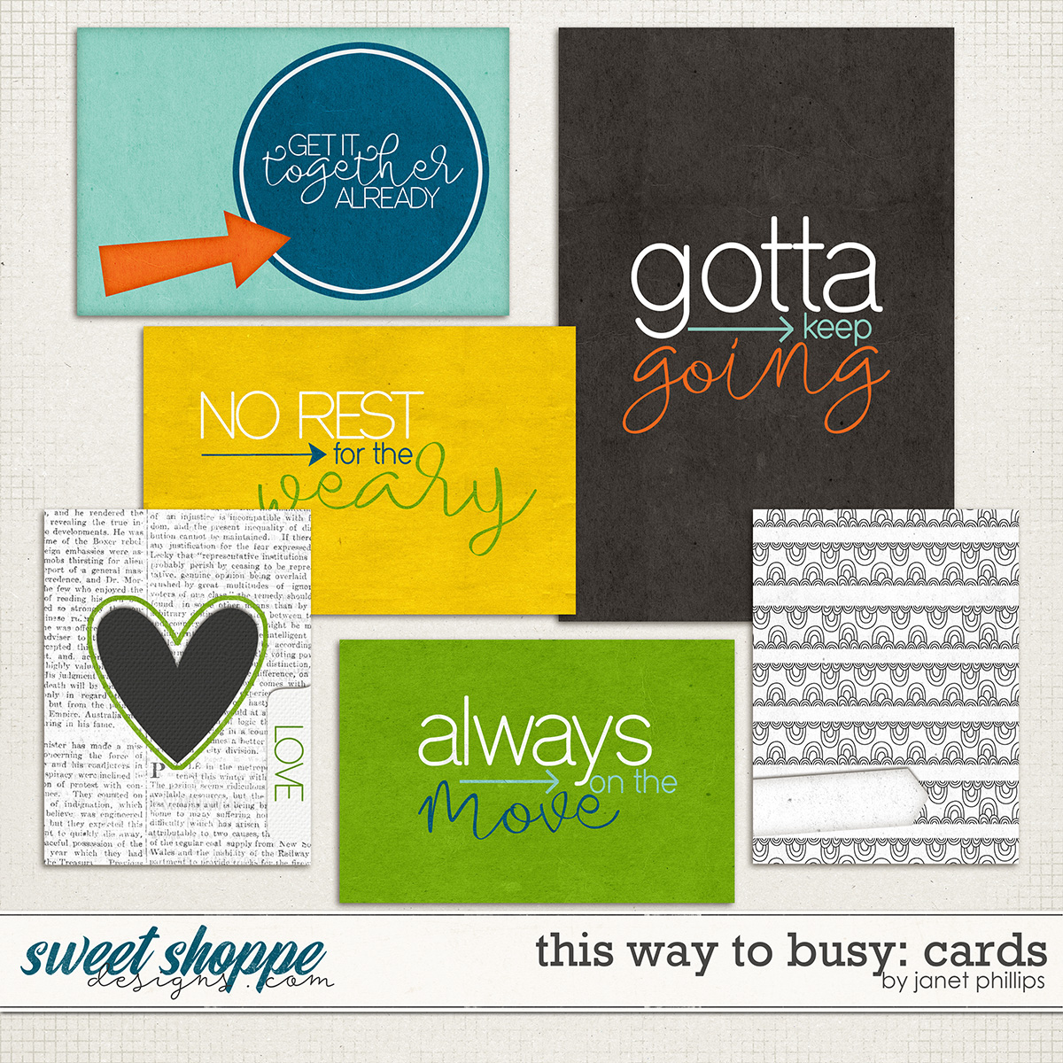 THIS WAY TO BUSY: JOURNALING CARDS by Janet Phillips