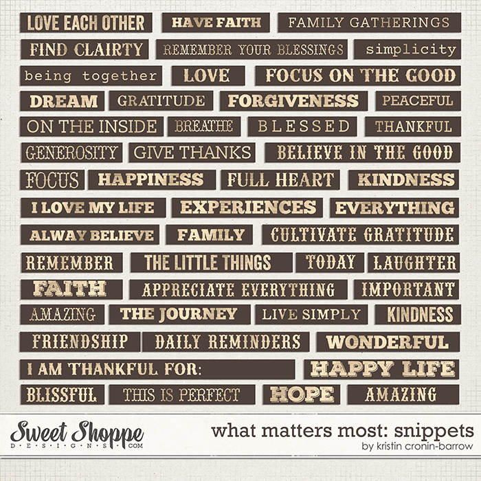 What Matters Most: Snippets by Kristin Cronin-Barrow