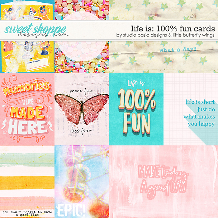 Life Is: 100% Fun Cards by Studio Basic and Little Butterfly Wings