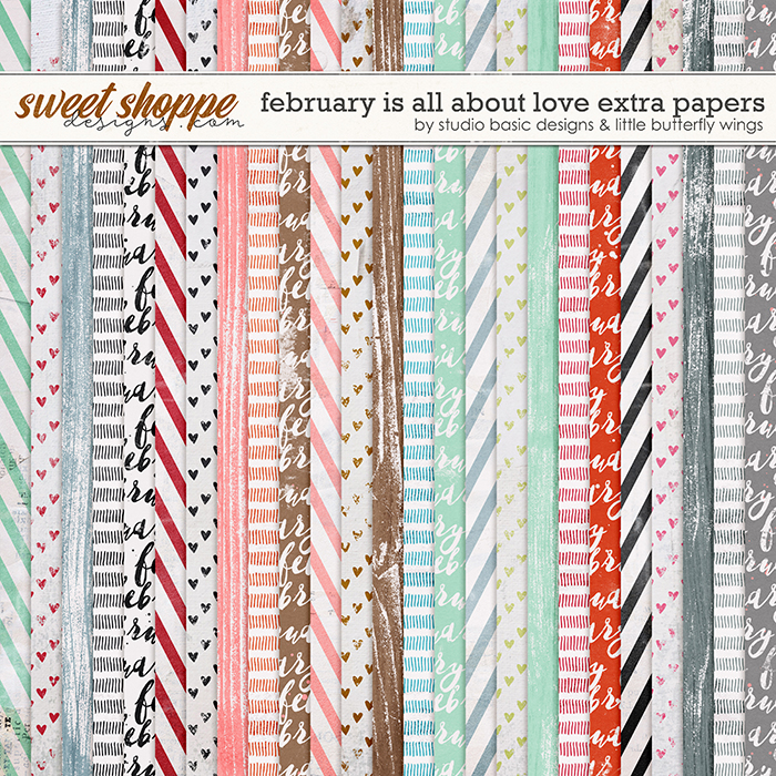 February Is All About Love Extra Papers by Studio Basic and Little Butterfly Wings