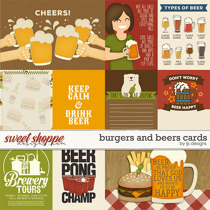 Burgers and Beers Cards by LJS Designs