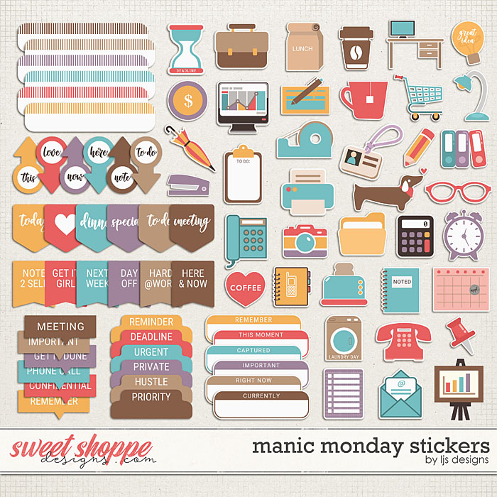 Manic Monday Stickers by LJS Designs