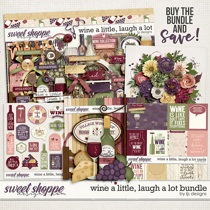 Wine A Little, Laugh A Lot  Bundle by LJS Designs