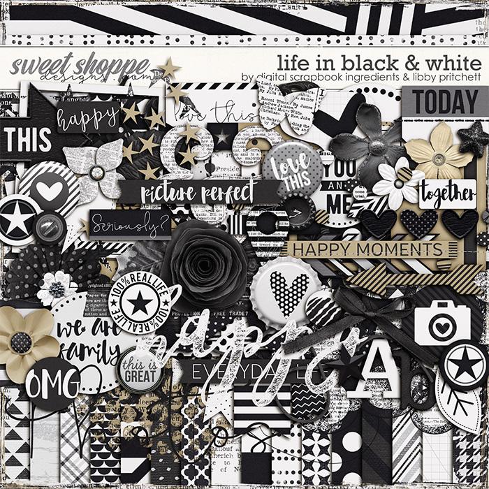 Life In Black & White by Libby Pritchett & Digital Scrapbook Ingredients