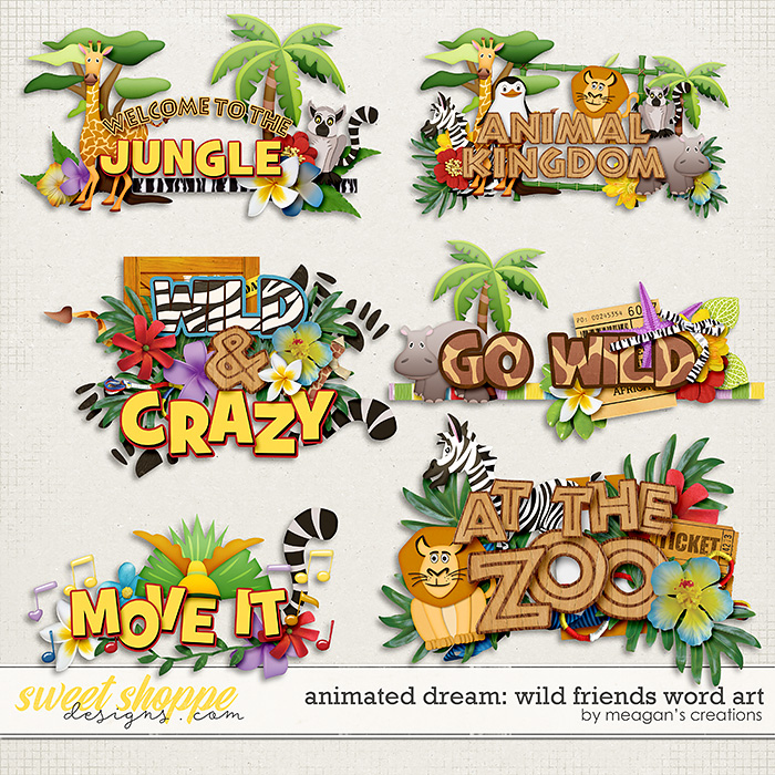 Animated Dream: Wild Friends Word Art by Meagan's Creations