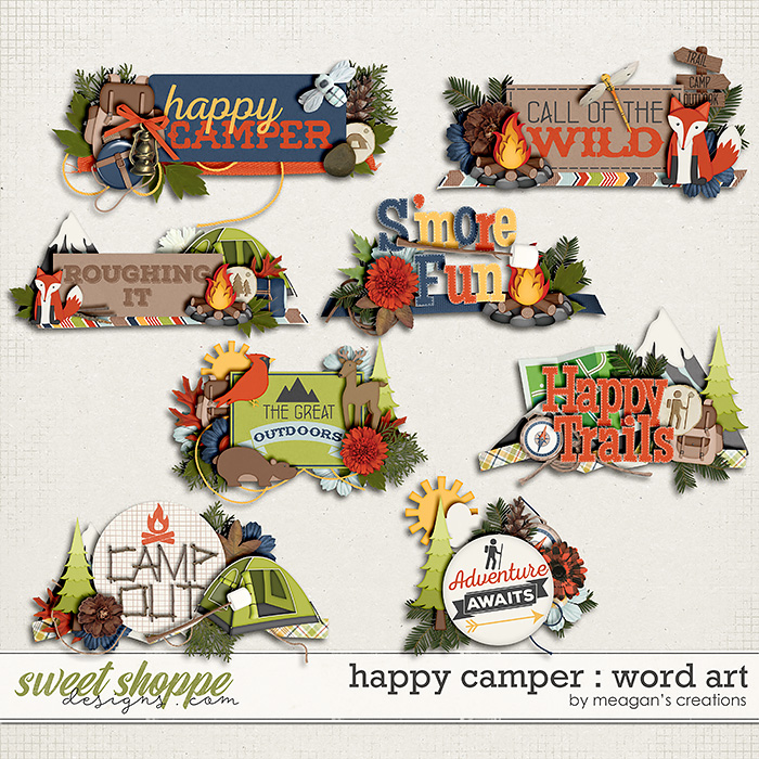 Happy Camper : Word Art by Meagan's Creations