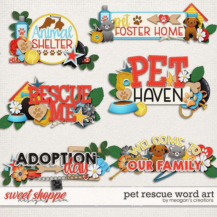 Pet Rescue Word Art by Meagan's Creations