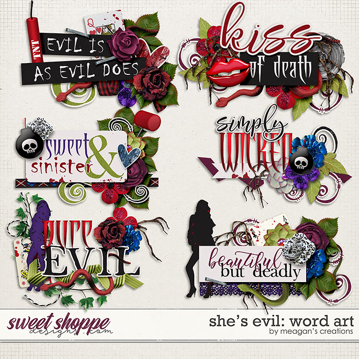 She's Evil: Word Art by Meagan's Creations