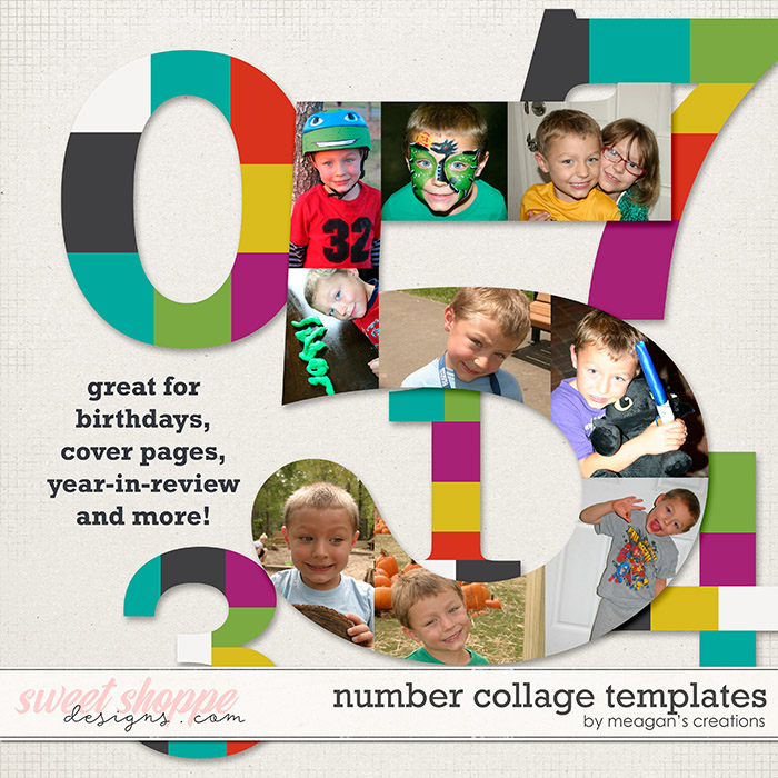 Number Collage Templates By Meagans Creations