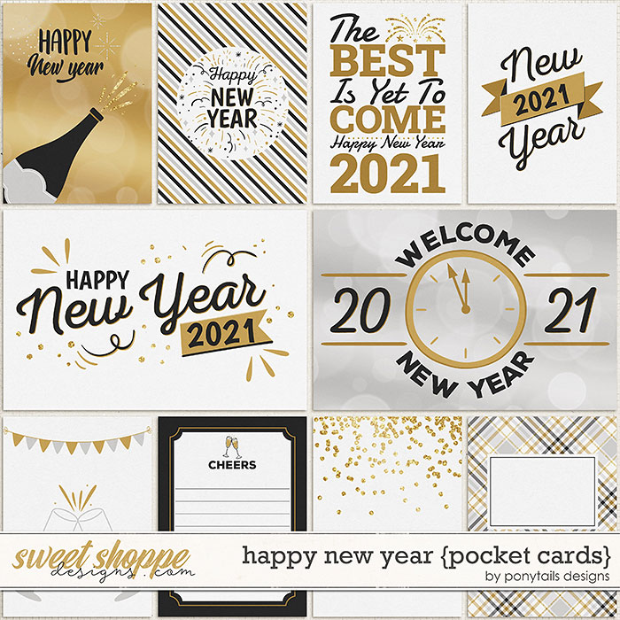 Happy New Year Pocket Cards by Ponytails