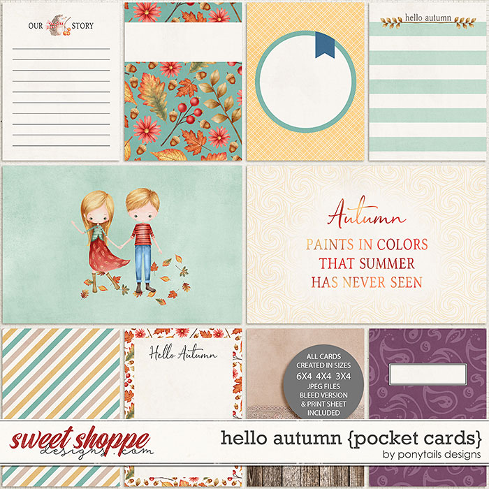 Hello Autumn Pocket Cards by Ponytails