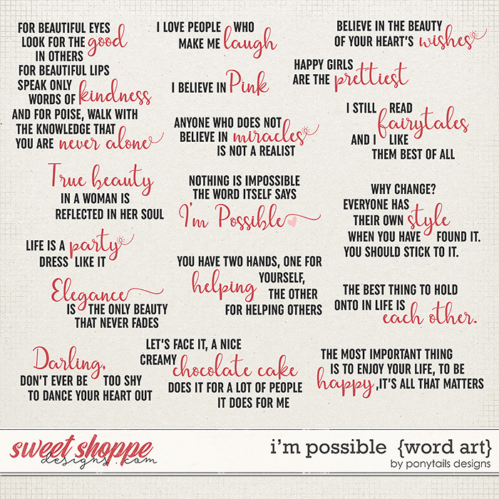 I'm Possible Word Art by Ponytails