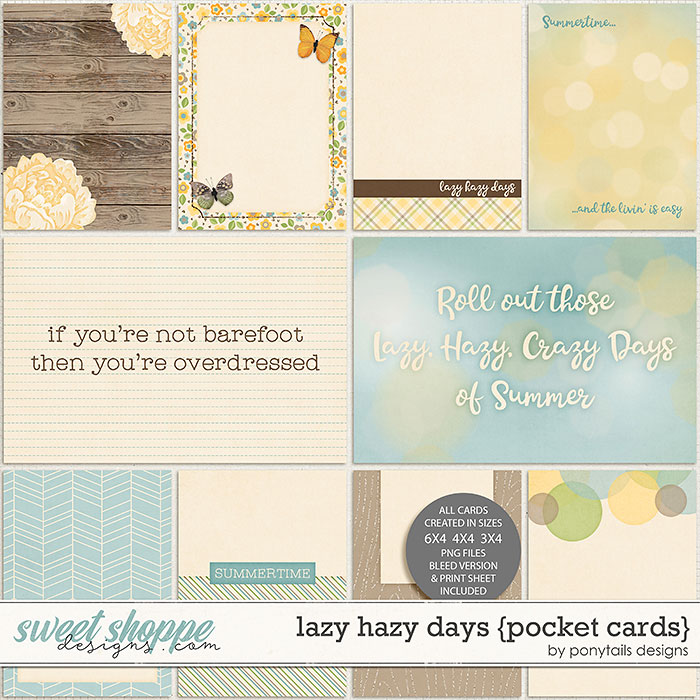 Lazy Hazy Days Pocket Cards by Ponytails