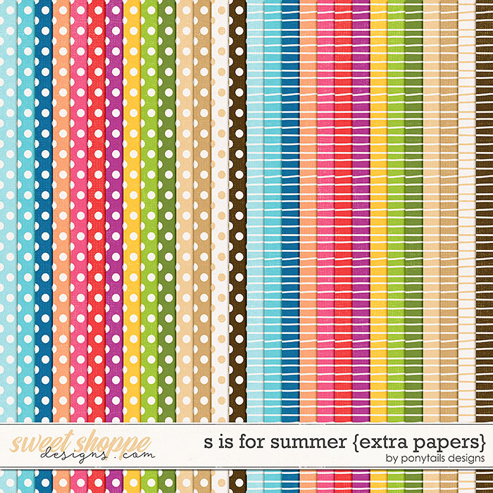 S is for Summer Extra Papers by Ponytails