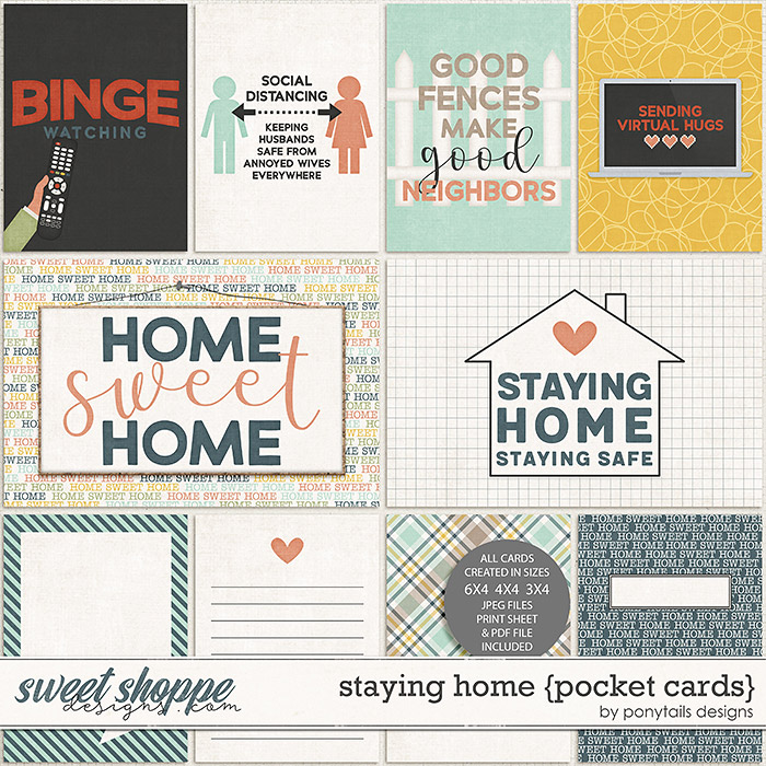 Staying Home Pocket Cards by Ponytails